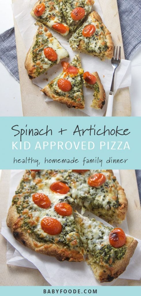 Spinach and artichoke pizza on a cutting board.