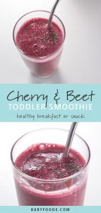 Pinterest collage for a cherry beet smoothie recipe.