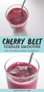 Pinterest collage for cherry beet smoothie recipe.