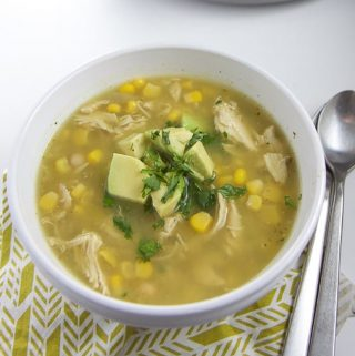 A big bowl of chicken chili verde for toddler, kids and adults.
