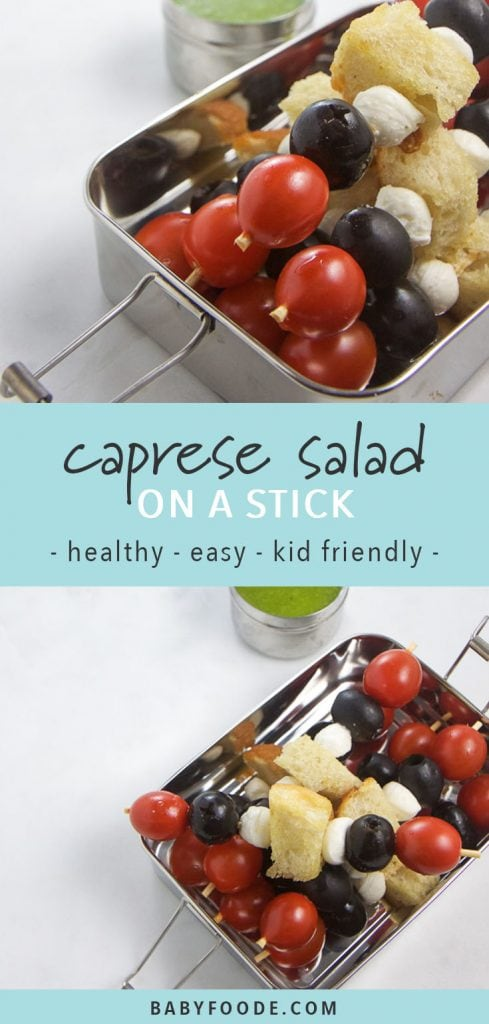 Caprese skewers in a lunch box with a side of basil dipping sauce.