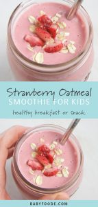 Two images of a healthy and kid friendly smoothie in a glass mason jar.