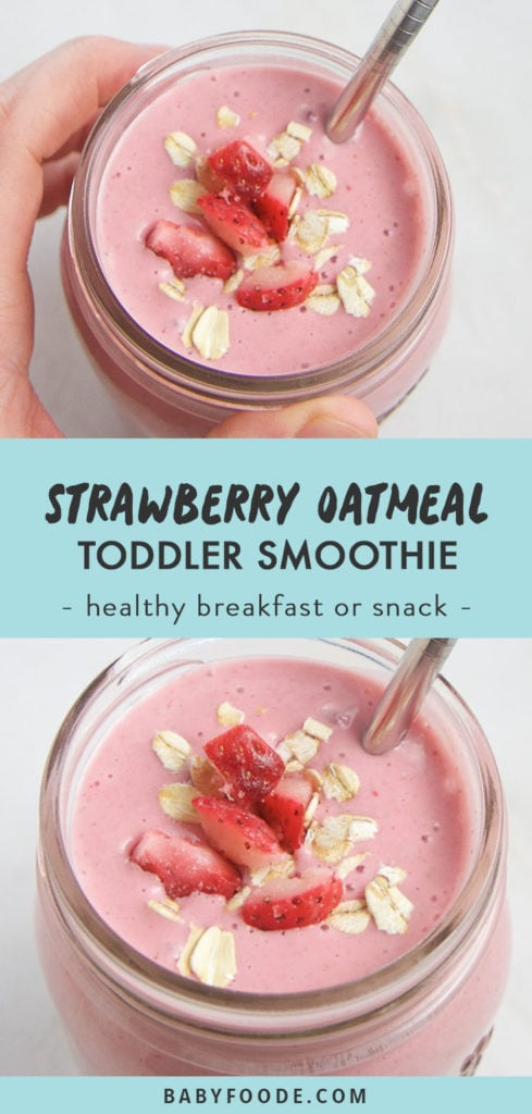 Pinterest collage for a kid friendly strawberry oatmeal smoothie.