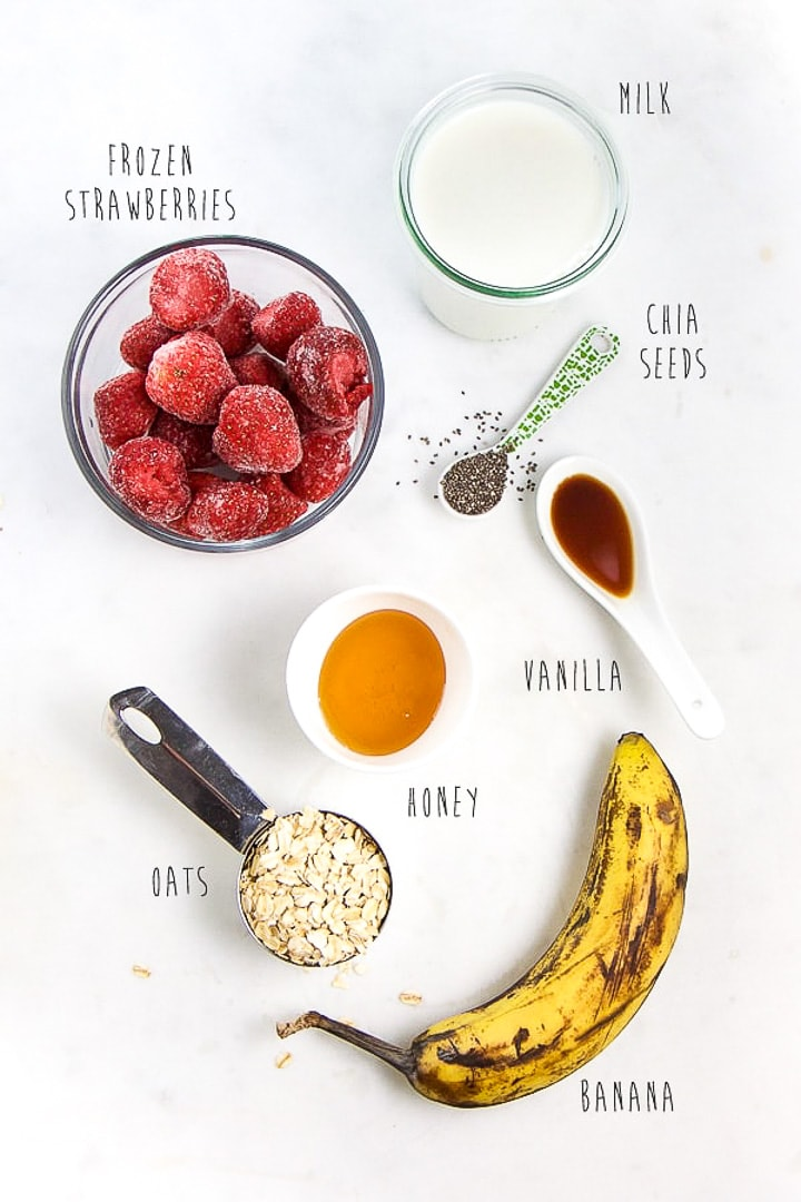 spread of smoothie ingredients.