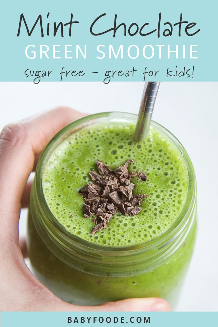 Pinterest image for a mint chocolate smoothie recipe.