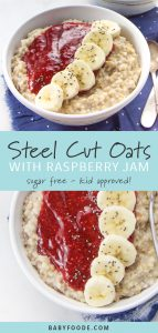 A collage of images showing a bowl kid friendly steel cut oats with raspberry lemon sauce, bananas, and chia seeds.