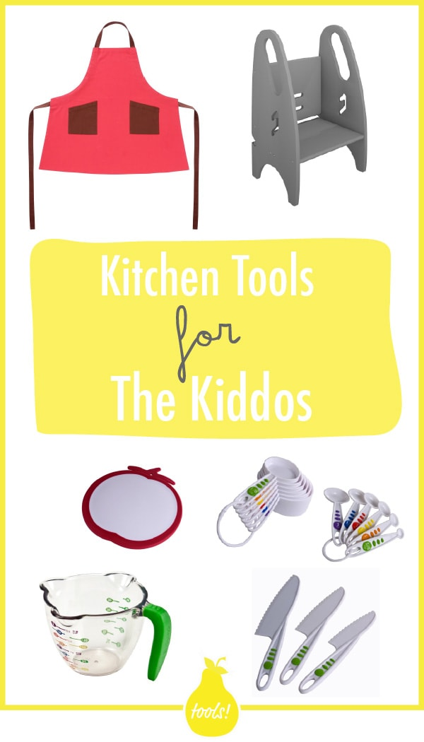 Grid of kid kitchen tools like aprons, measuring cup, measuring spoons, etc.