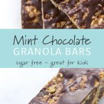 A stack of homemade mint chocolate granola bars.
