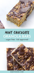 Pinterest image for kid friendly homemade mint chocolate granola bars.