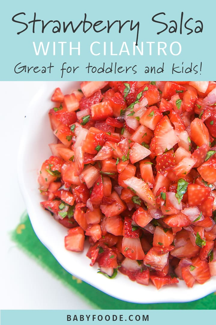 A bowl of kid friendly strawberry salsa.