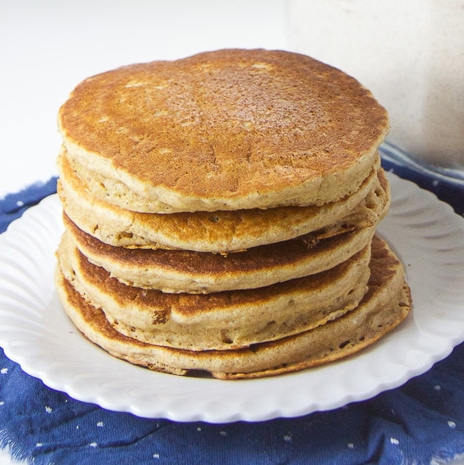 A stack of pancakes made using make-ahead whole wheat pancake mix.