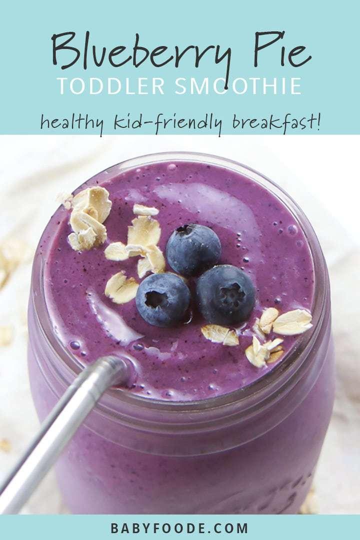 Blueberry pie smoothie in mason jar with metal straw