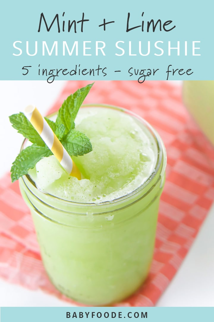 Sugar free mint and lime slushy in a glass cup with a yellow straw.