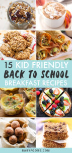 Pinterest image for a collection of back to school breakfast recipes for kids.