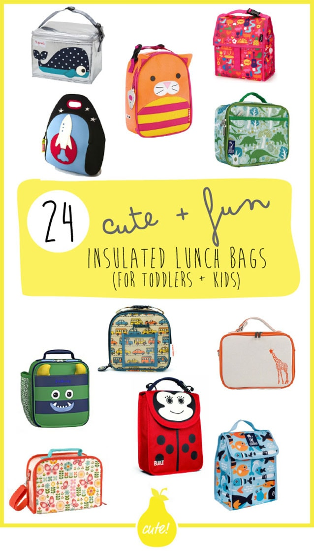 A graphic for the post - 24 insulated school lunch bags with text and a spread of pictures of lunch bags.