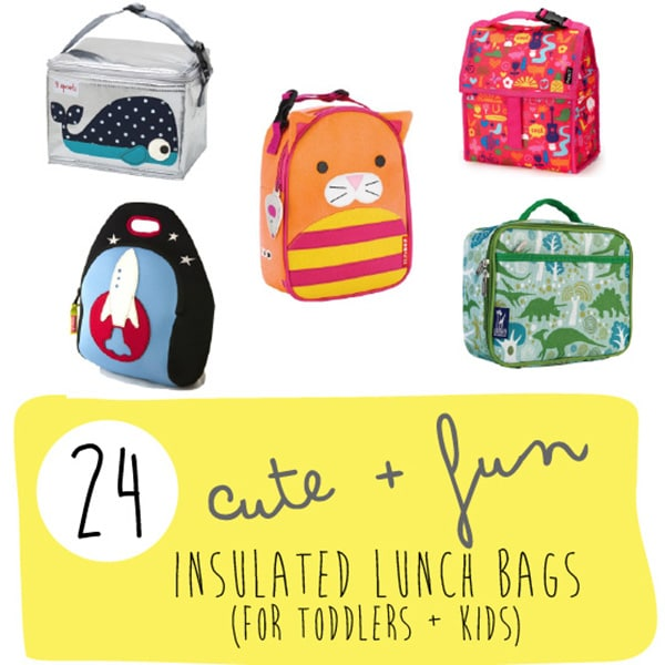 A graphic for the post - 24 insulated school lunch bags.
