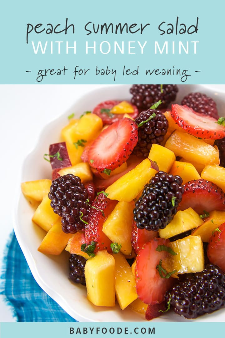 A bowl of peach and berry summer salad for toddlers and baby led weaning.