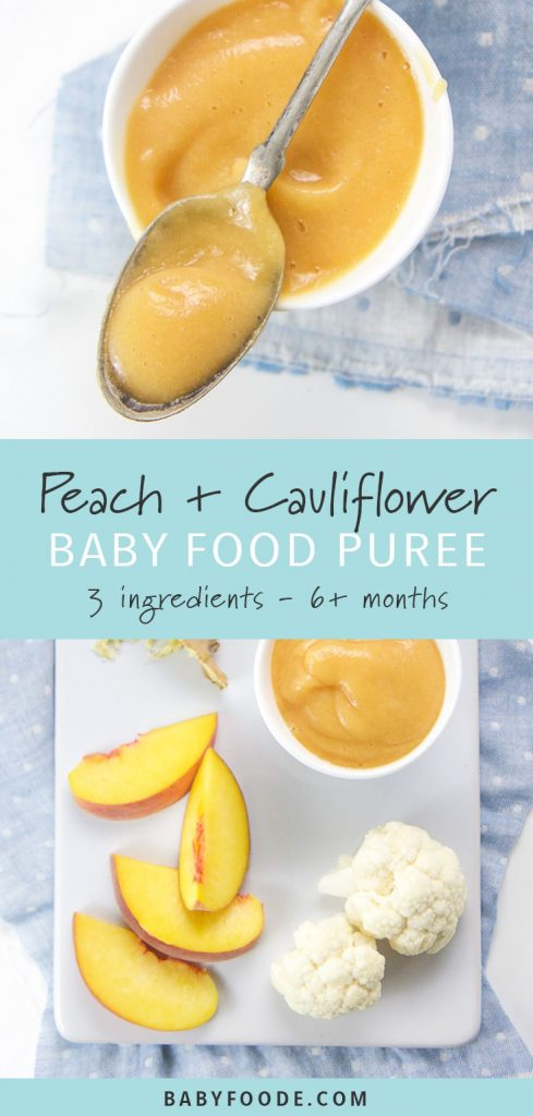 Peach and cauliflower stage two baby puree in a small white bowl with a silver spoon.