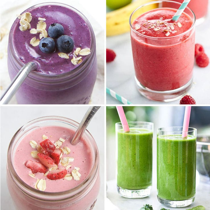 A collage of healthy smoothie recipes for kids and toddlers.