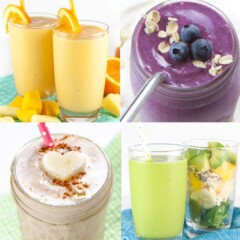 A grid of four smoothies for toddlers and kids