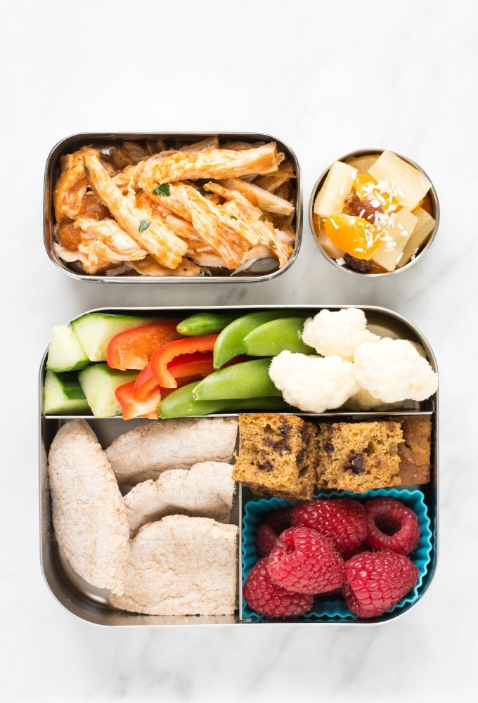Lunch in bento box on marble counter