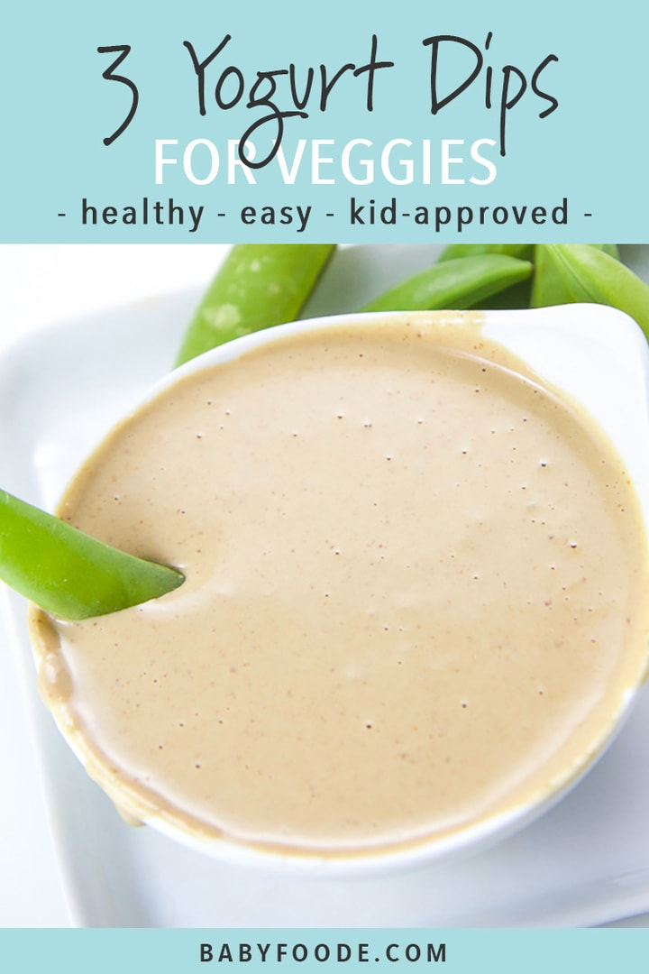 Healthy and kid friendly yogurt dip in a white bowl surrounded by vegetables.
