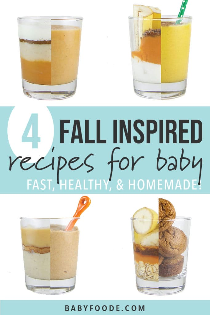 Graphic for Post - 4 Fall Inspired Recipe for Baby + Toddler - Fast, Healthy & Homemade with images in a great of the 4 recipes.