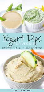 A collage of three healthy toddler and kid approved yogurt dips for veggies.