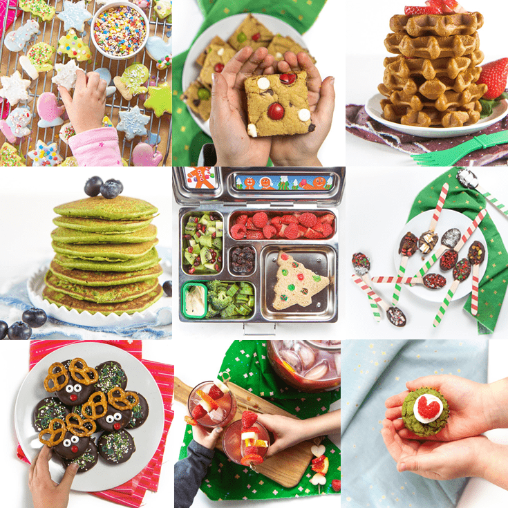 grid of photos of recipes for christmas treats for kids.