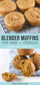 A collage of healthy sugar free and gluten free blender muffins for babies and toddlers.