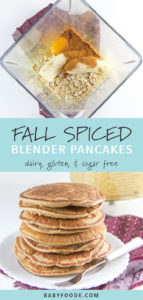 Pinterest image for allergy friendly fall spiced blender pancakes for toddlers and kids.