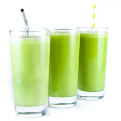 3 glasses with green smoothies for kids and toddlers.