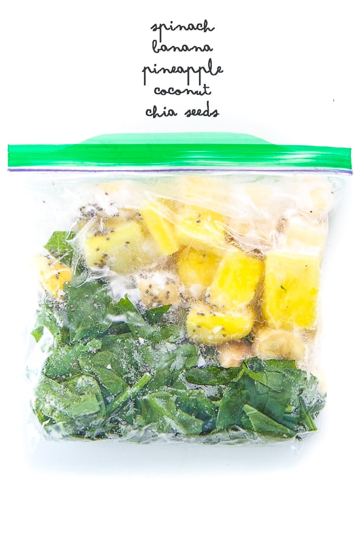 tropical smoothie for toddler and kids in a smoothie freezer pack.