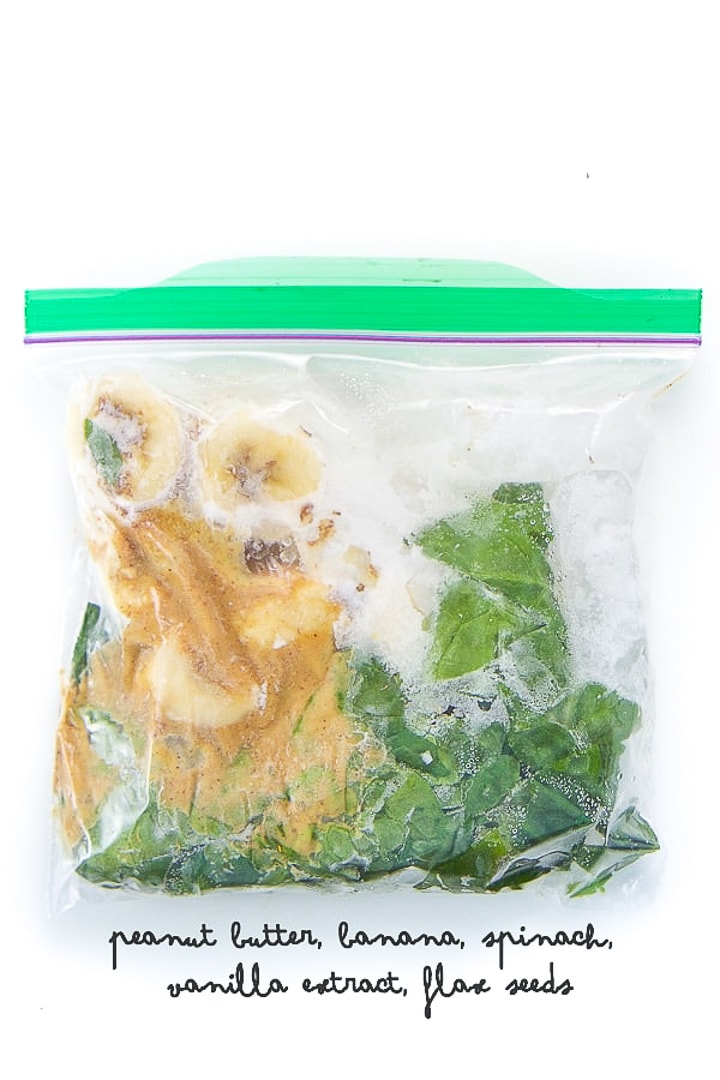 smoothie pack for a spinach peanut butter smoothie for toddlers and kids.