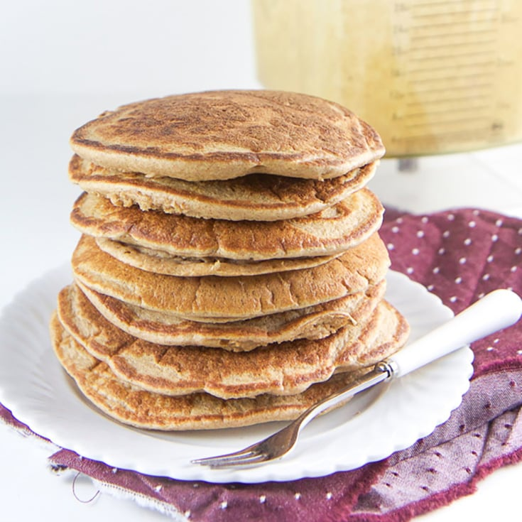 A stack of fall spiced blender pancakes for toddlers and kids.