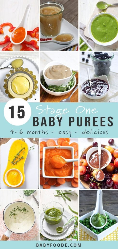 A round-up image of 15 different stage one homemade baby food purees for babies aged 4-6 months.