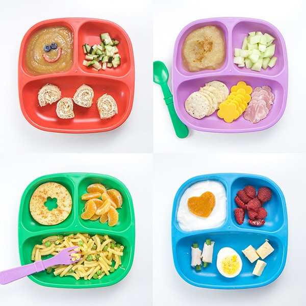 A grid of 4 colorful 3-section plates filled with healthy and colorful toddler lunch ideas.