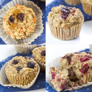 grid of 4 varieties of oatmeal muffin cups for baby, toddler and kids.