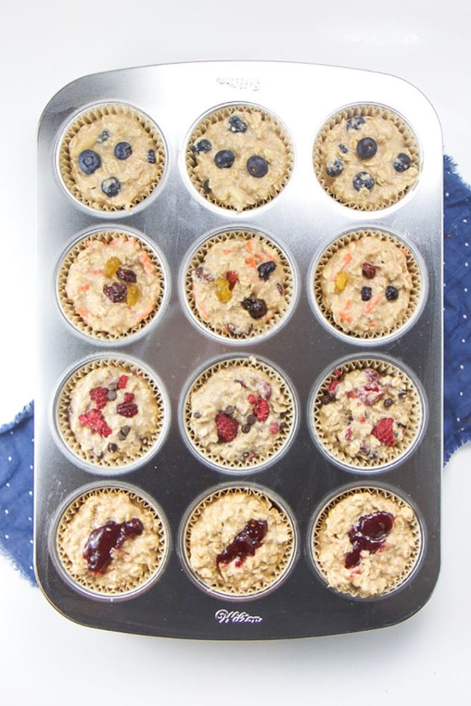 muffin tin of ready to bake oat muffin cups.