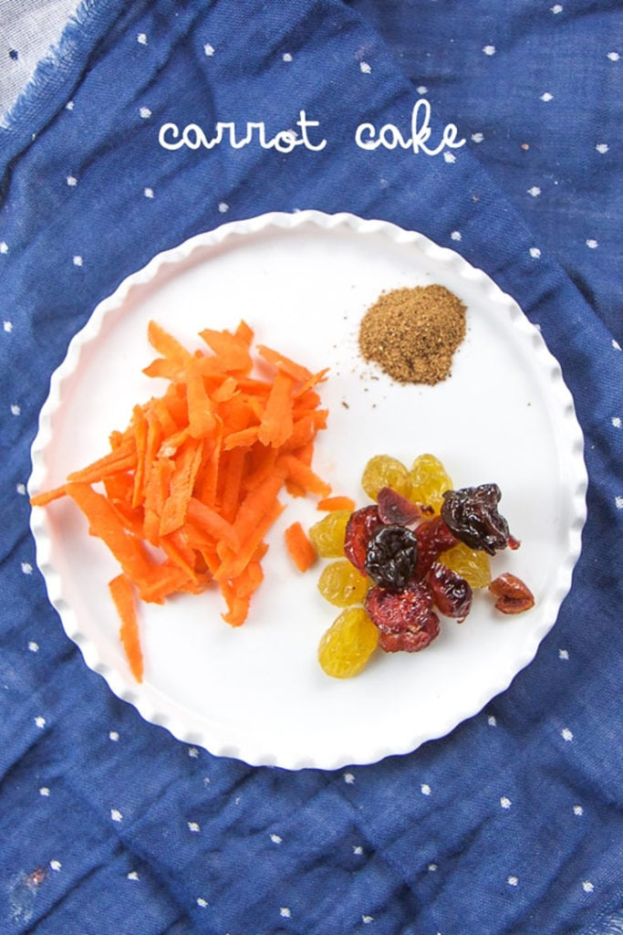 plate of toppings for oatmeal muffin cups for baby, toddler and kids - carrot cake.