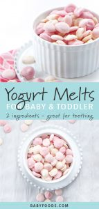 A bowl of healthy yogurt melts for baby and toddler.