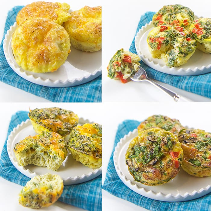 Grid of egg muffin photos for baby, toddler and kids.