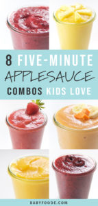 Pinterest image for applesauce combinations for babies and toddlers.