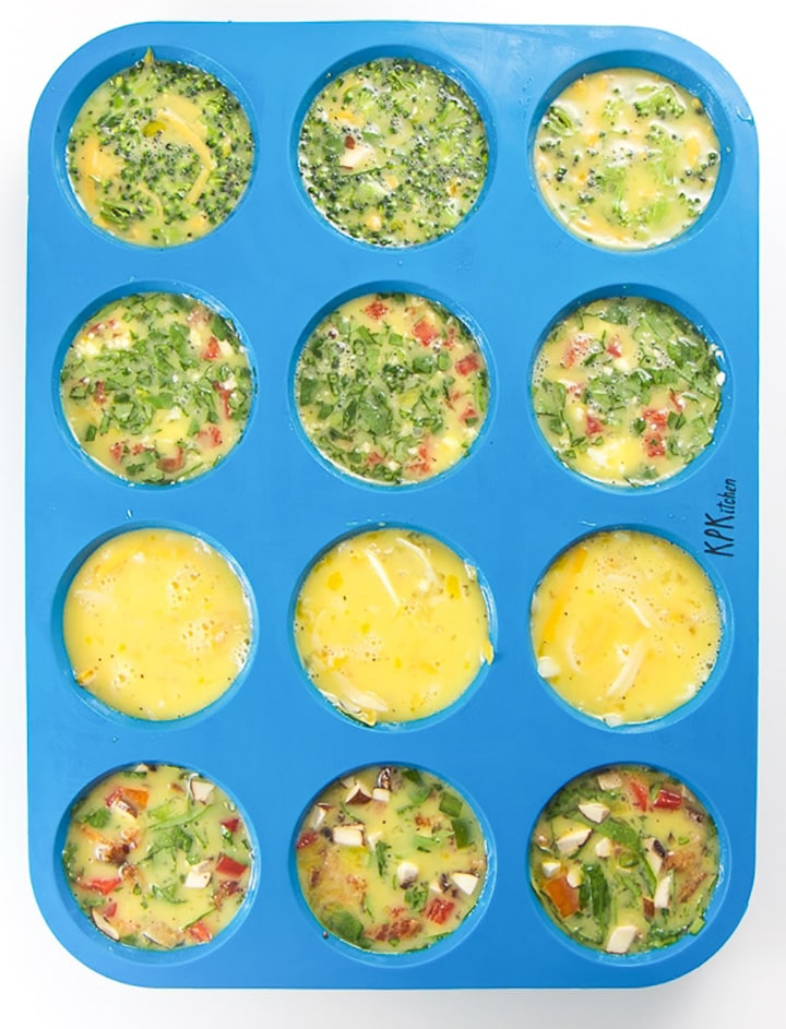 Muffin tin with egg muffins ready for the oven.