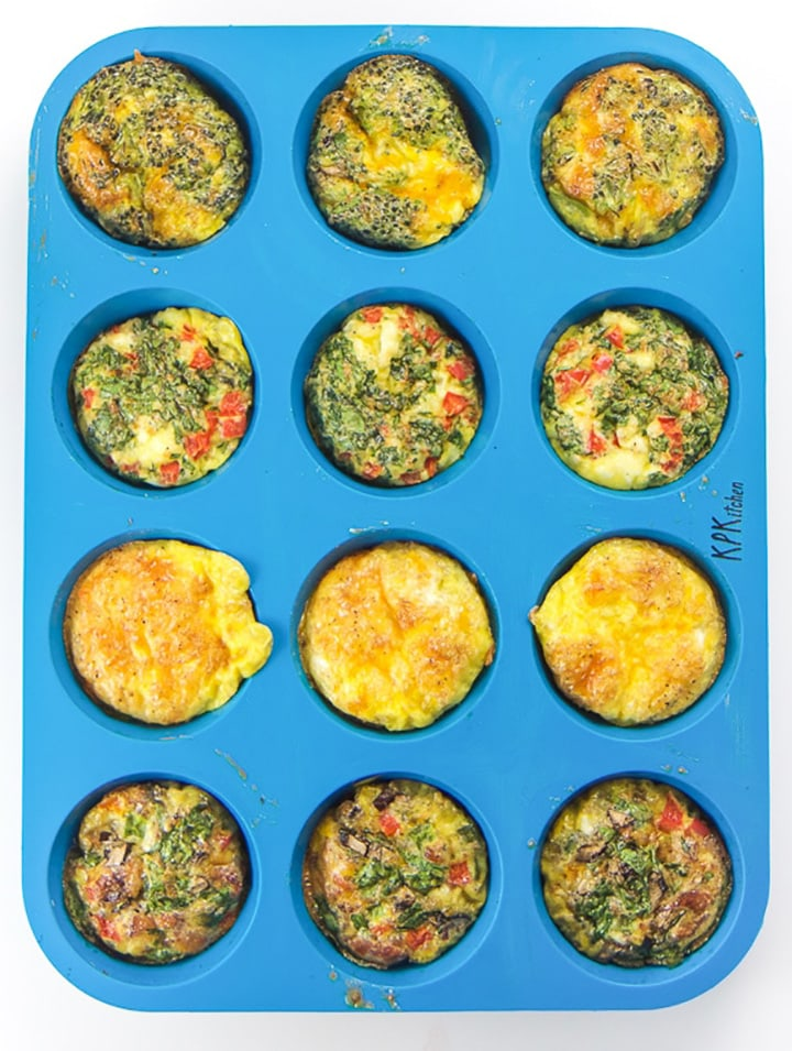 Muffin Tin with cooked egg muffins.