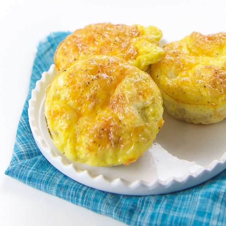 Breakfast Egg Muffins on a plate for toddler and kids.