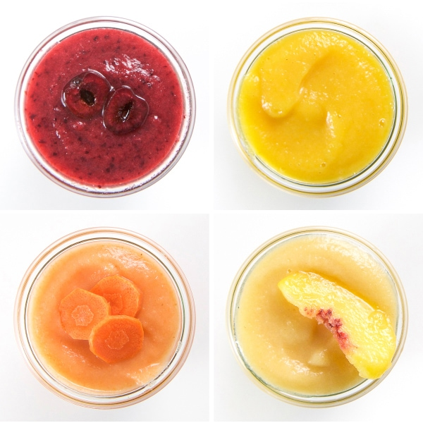 A collage of applesauce combinations that can be made in 5 minutes.