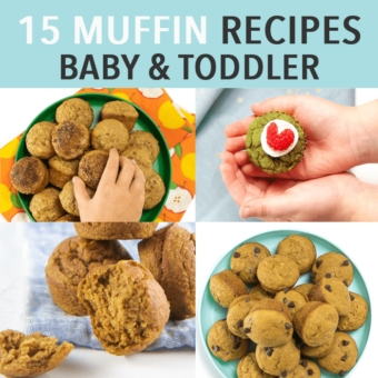 Graphic for post - 15 muffin recipes for baby and toddler. Images are a grid of plates and small toddler hands holding muffins.