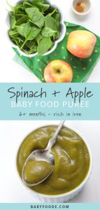 A small white bowl filled with homemade spinach apple baby food puree and whole spinach and apples on a cutting board.