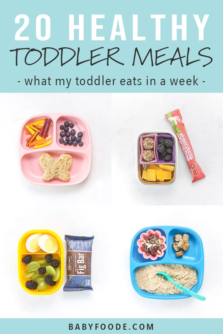A collage of healthy toddler meals for breakfast, lunch, dinners, and snacks.